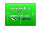 Comunicato Ufficiale nr. 2 CAMPIONATO MASTER Calcio a7 Cagliari 2017-18