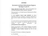 AVVISO – Elenco ASD Beneficiarie Contributo Straordinario R.A.S. Covid 19 L.R. n.22/2020