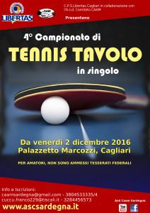 4° Campionato di TENNIS TAVOLO 2016 @ Palestra Marcozzi, Cagliari