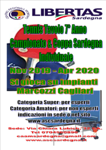 Tennis Tavolo Amatori 2019-2020 1° Campionato Individuale 1° Coppa Sardegna Individuale