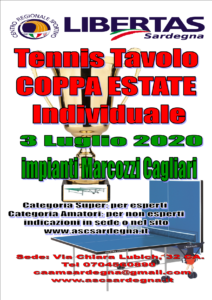 "COPPA ESTATE 2020 ""TENNISTAVOLO INDIVIDUALE"" @ CAGLIARI"
