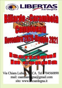 BILIARDO - CARAMBOLA: Campionati 2020-21