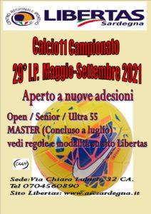 29^ CAMPIONATI LIBERTAS CALCIO A11 – Anno 2021 Inizio maggio, termine 4 OTTOBRE 2021.